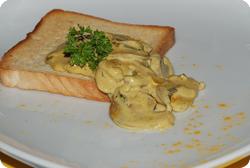 Champignoncurry auf Toast