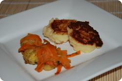 Kartoffelstocktätschli mit Rüebli-Maroni-Gemüse