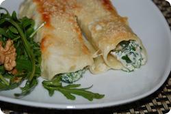 Cannelloni mit Spinat und Nüssen