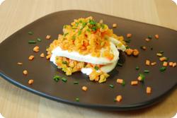 Karotten-Linsen auf Mozzarella