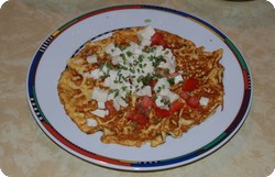 Omelette mit Tomaten und Mozzarella