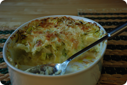 Kartoffelstock-Lauch-Gratin